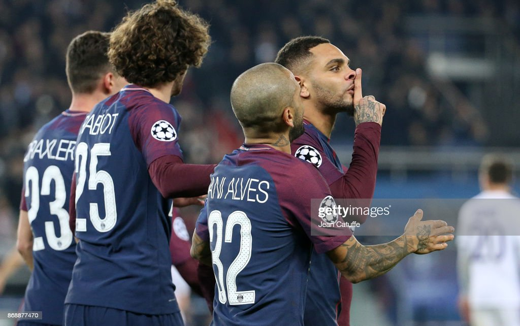 Layvin Kursawa of PSG celebrates his goal during the UEFA Champions League group B match between Paris Saint-Germain (PSG) and RSC Anderlecht at Parc des Princes on October 31, 2017 in Paris, France.