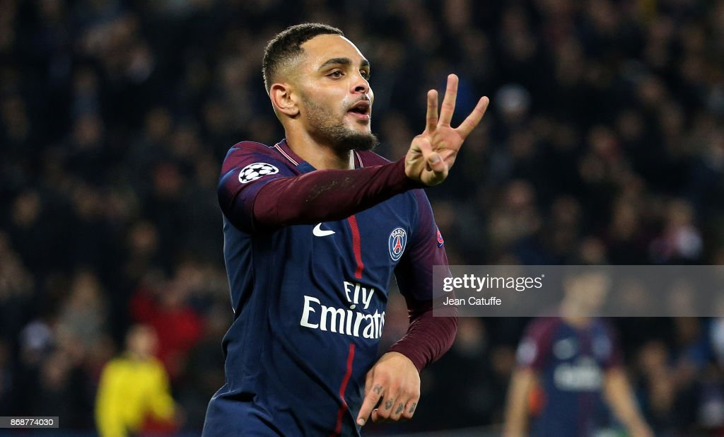 Layvin Kursawa of PSG celebrates his third goal (hat trick) during the UEFA Champions League group B match between Paris Saint-Germain (PSG) and RSC Anderlecht at Parc des Princes on October 31, 2017 in Paris, France.