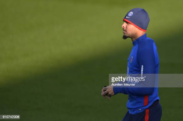 Layvin Kurzawa arrives for a training session of Paris Saint Germain PSG at Camp des Loges on January 26 2018 in Paris France