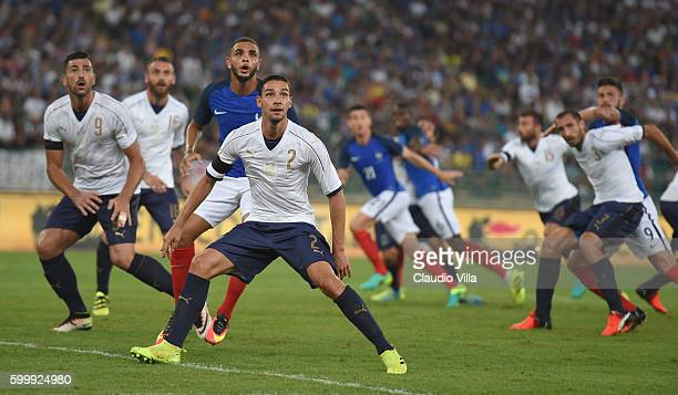 Layvin Kurzawa of France and Mattia De Sciglio of Italy in action during the international friendly match between Italy and France at Stadio San...