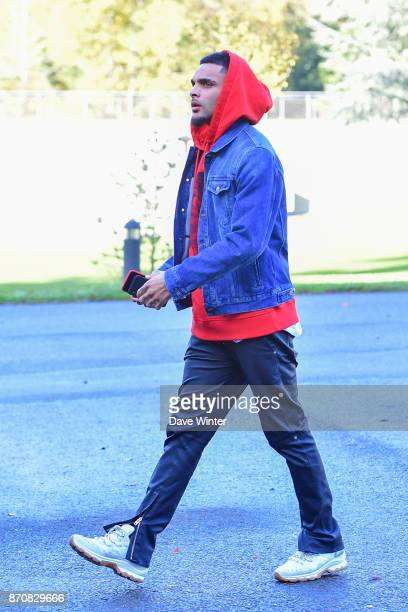 Layvin Kurzawa of France arrives at the Centre National du Football in Clairefontaine en Yvelines France on November 6 2017