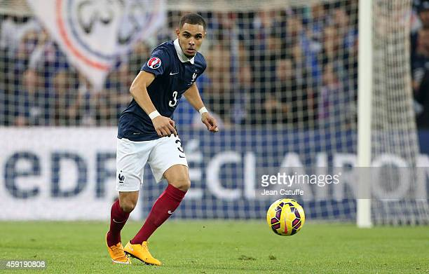 Layvin Kurzawa of France in action during the international friendly match between France and Sweden at the New Stade Velodrome on November 18 2014...