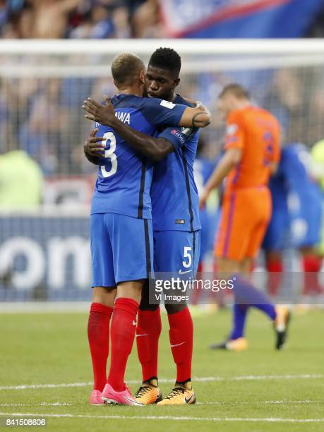 Layvin Kurzawa of France Samuel Umtiti of France Stefan de Vrij of Holland during the FIFA World Cup 2018 qualifying match between France and...