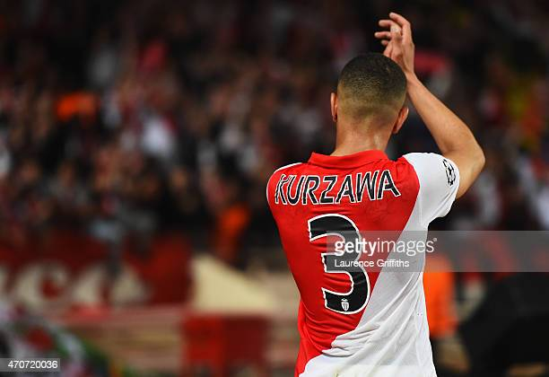 Layvin Kurzawa of Monaco applauds the fans after the UEFA Champions League quarterfinal second leg match between AS Monaco FC and Juventus at Stade...