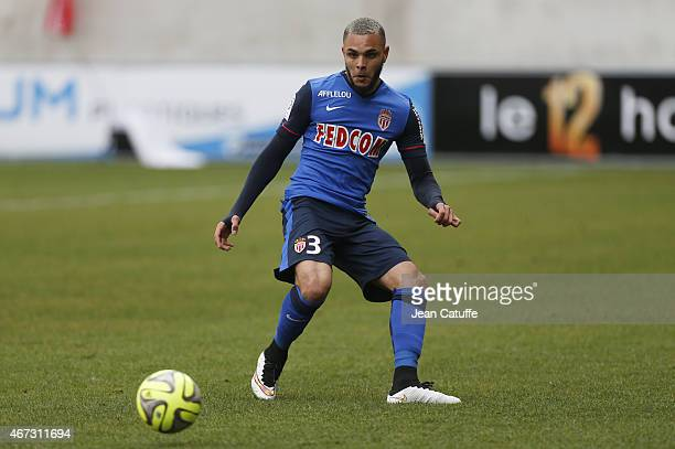 Layvin Kurzawa of Monaco in action during the French Ligue 1 match between Stade de Reims and AS Monaco at Stade Auguste Delaune on March 22 2015 in...