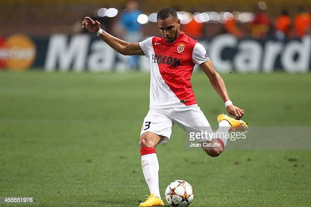 Layvin Kurzawa of Monaco in action during the UEFA Champions League Group C match between AS Monaco FC and Bayer 04 Leverkusen at Louis II Stadium on...