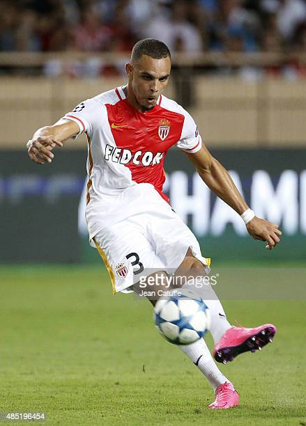 Layvin Kurzawa of Monaco in action during the UEFA Champions League play off round Second Leg between AS Monaco and Valencia CF at Stade Louis II on...