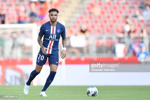 Layvin Kurzawa of Paris plays the ball during the preseason friendly match between 1 FC Nuernberg and Paris SaintGerman at MaxMorlockStadion on July...