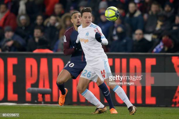 Layvin Kurzawa of Paris Saint Germain Florian Thauvin of Olympique Marseille during the French League 1 match between Paris Saint Germain v Olympique...