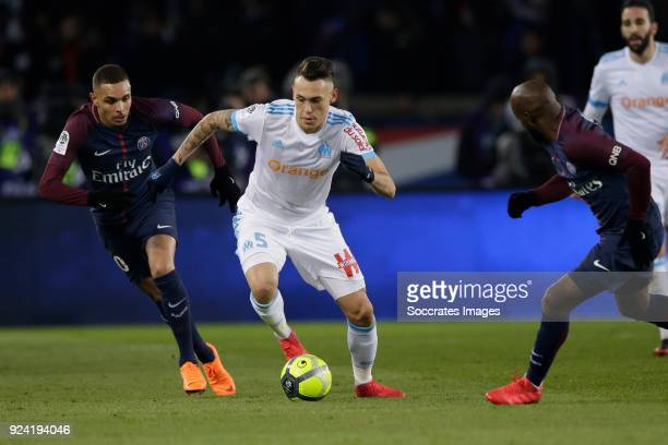 Layvin Kurzawa of Paris Saint Germain Lucas Ocampos of Olympique Marseille during the French League 1 match between Paris Saint Germain v Olympique...