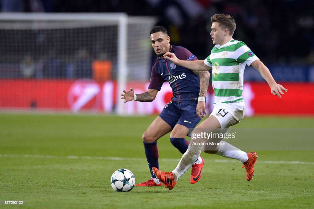 Layvin Kurzawa of Paris Saint-Germain and James Forrest of Celtic Glasgow fight for the ball during the UEFA Champions League group B match between Paris Saint-Germain and Celtic Glasgow at Parc des Princes on November 22, 2017 in Paris, France.