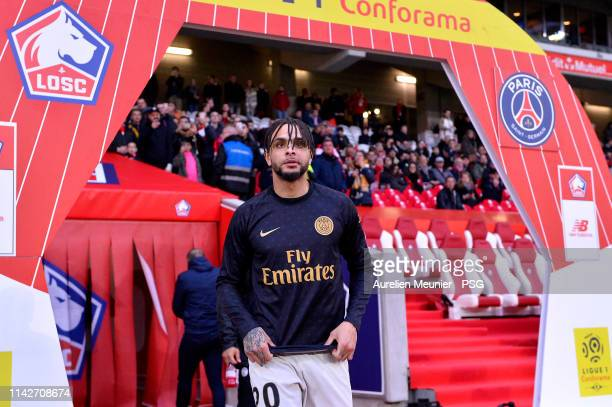 Layvin Kurzawa of Paris SaintGermain arrives for warmup before the Ligue 1 match between Paris SaintGermain and Lille OSC at Stade Pierre Mauroy on...