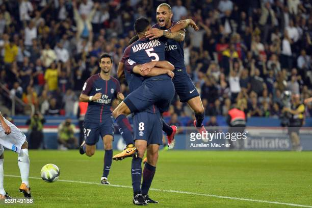 Layvin Kurzawa of Paris SaintGermain congratulates Thiago Motta for his goal during the Ligue 1 match between Paris SaintGermain ans AS SaintEtienne...