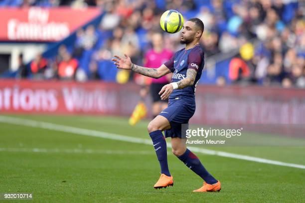 Layvin Kurzawa of Paris SaintGermain controls the ball during the Ligue 1 match between Paris Saint Germain and Angers SCO at Parc des Princes on...