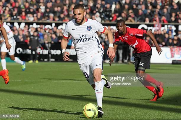 Layvin Kurzawa of Paris SaintGermain during the French League 1 match between EA Guingamp and Paris SaintGermain on April 9 2016 in Guingamp France