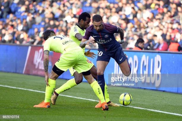 Layvin Kurzawa of Paris SaintGermain fights for the ball during the Ligue 1 match between Paris Saint Germain and Angers SCO at Parc des Princes on...