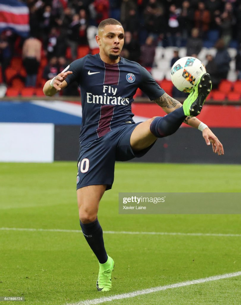 Layvin Kurzawa of Paris Saint-Germain in action during the French Ligue 1 match between Paris Saint-Germain and AS Nancy-Lorraine at Parc des Princes on March 4, 2017 in Paris, France.