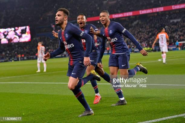 Layvin Kurzawa of Paris Saint-Germain reacts after scoring during the Ligue 1 match between Paris Saint-Germain and Montpellier HSC at Parc des...