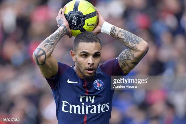 Layvin Kurzawa of Paris SaintGermain throws the ball during the Ligue 1 match between Paris Saint Germain and Angers SCO at Parc des Princes on March...