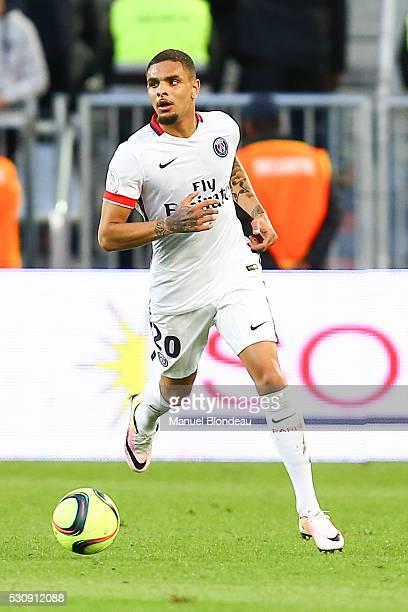 Layvin Kurzawa of Paris SG during the French Ligue 1 match between FC Girondins de Bordeaux and Paris SaintGermain at Nouveau Stade de Bordeaux on...