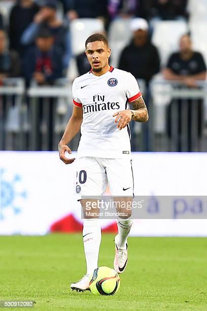 Layvin Kurzawa of Paris SG during the French Ligue 1 match between FC Girondins de Bordeaux and Paris Saint-Germain at Nouveau Stade de Bordeaux on...