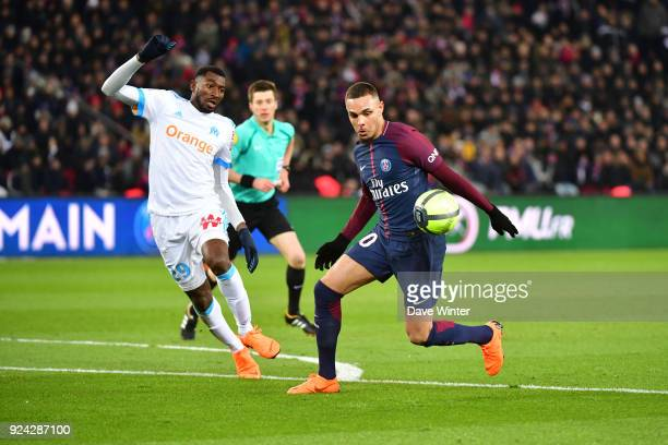 Layvin Kurzawa of PSG and Andre Franck Zambo Anguissa of Marseille during the Ligue 1 match between Paris Saint Germain and Olympique Marseille at...
