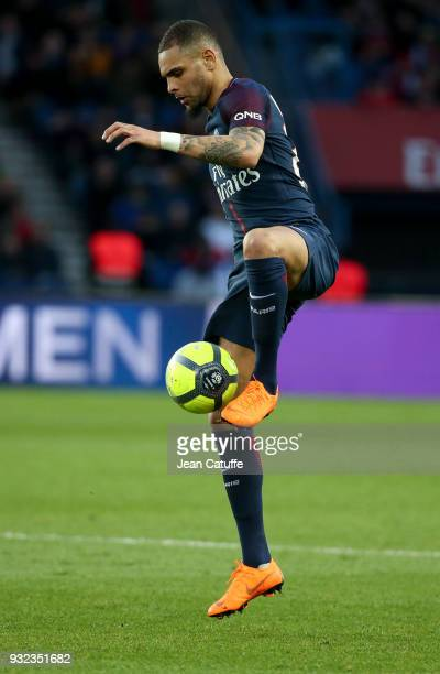 Layvin Kurzawa of PSG during the French Ligue 1 match between Paris Saint Germain and SCO Angers at Parc des Princes stadium on March 14 2018 in...
