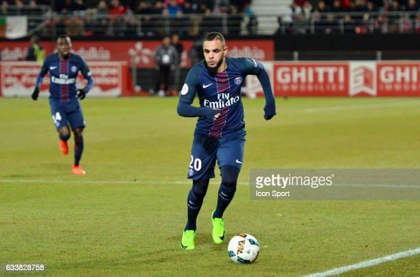 Layvin Kurzawa of PSG during the Ligue 1 match between Dijon DCO and Paris Saint Germain at Stade Gaston Gerard on February 4 2017 in Dijon France