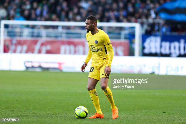 Layvin Kurzawa of PSG during the Ligue 1 match between Troyes AC and Paris Saint Germain at Stade de l'Aube on March 3 2018 in Troyes