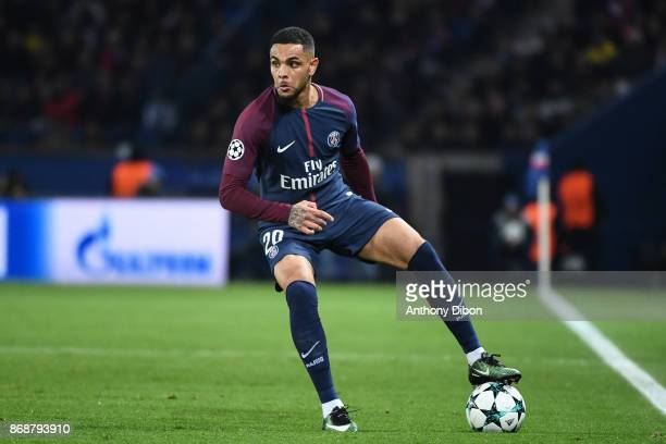 Layvin Kurzawa of PSG during the UEFA Champions League match between Paris SaintGermain and RSC Anderlecht at Parc des Princes on October 31 2017 in...