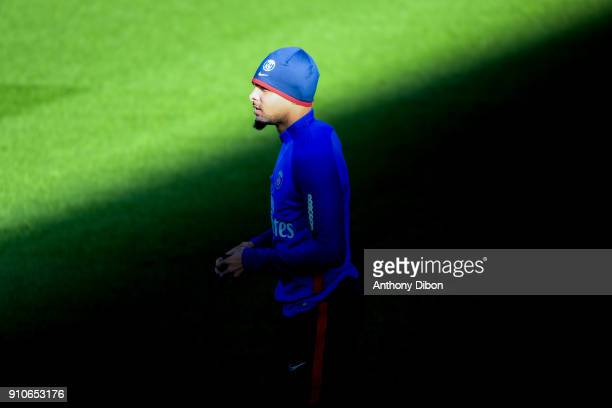Layvin Kurzawa of PSG during training session of Paris Saint Germain PSG at Camp des Loges on January 26 2018 in Paris France