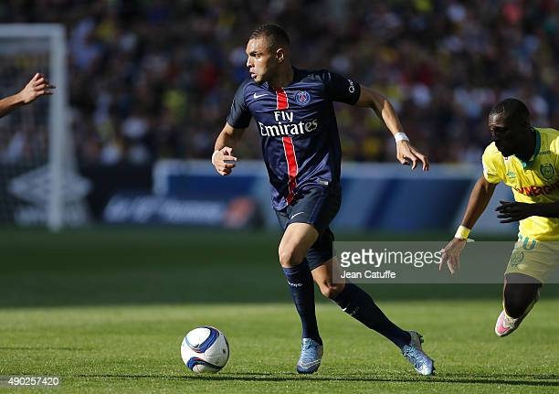 Layvin Kurzawa of PSG in action during the French Ligue 1 match between FC Nantes and Paris SaintGermain at Stade de la Beaujoire on September 26...