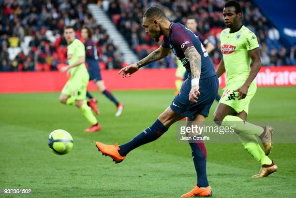 Layvin Kurzawa of PSG Lassana Coulibaly of Angers during the French Ligue 1 match between Paris Saint Germain and SCO Angers at Parc des Princes...