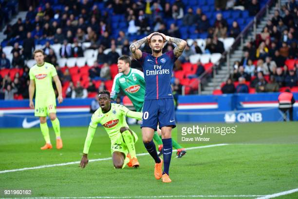 Layvin Kurzawa of PSG reacts after another chance is missed during the Ligue 1 match between Paris Saint Germain and Angers SCO on March 14 2018 in...