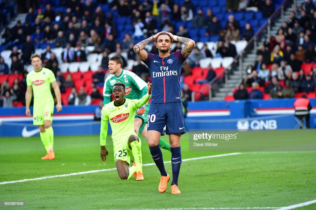 Layvin Kurzawa of PSG reacts after his shot goes wide during the Ligue 1 match between Paris Saint Germain (PSG) and Angers SCO on March 14, 2018 in Paris, France.