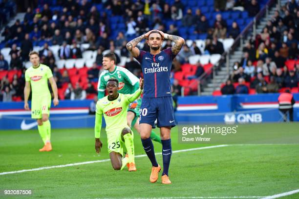 Layvin Kurzawa of PSG reacts after his shot goes wide during the Ligue 1 match between Paris Saint Germain and Angers SCO on March 14 2018 in Paris...
