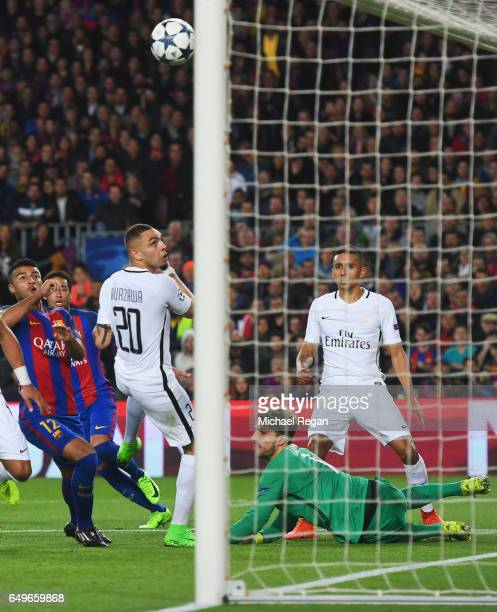 Layvin Kurzawa of PSG scores an own goal for Barcelona's second goal during the UEFA Champions League Round of 16 second leg match between FC...