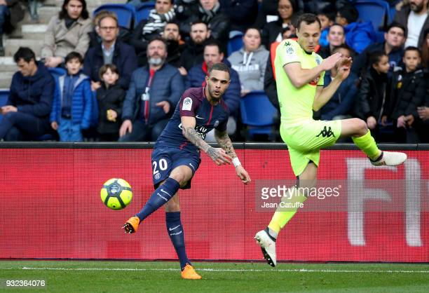 Layvin Kurzawa of PSG Vincent Manceau of Angers during the French Ligue 1 match between Paris Saint Germain and SCO Angers at Parc des Princes...