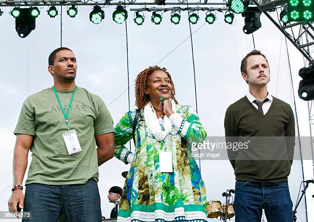 Laz Alonso CCH Pounder and Giovanni Ribisi attend The Climate Rally Earth Day 2010 at the National Mall on April 25 2010 in Washington DC