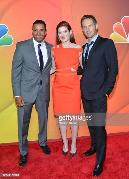 Laz Alonso Debra Messing and Josh Lucas attend the 2014 NBC Upfront Presentation at The Jacob K Javits Convention Center on May 12 2014 in New York...