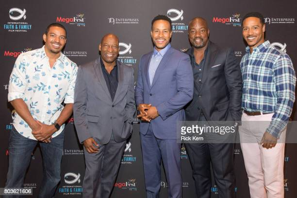 Laz Alonso John Singleton DeVon Franklin Malik Yoba and Brian White pose after the MegaFest Leading Men In Hollywood Panel at the Omni Hotel on June...