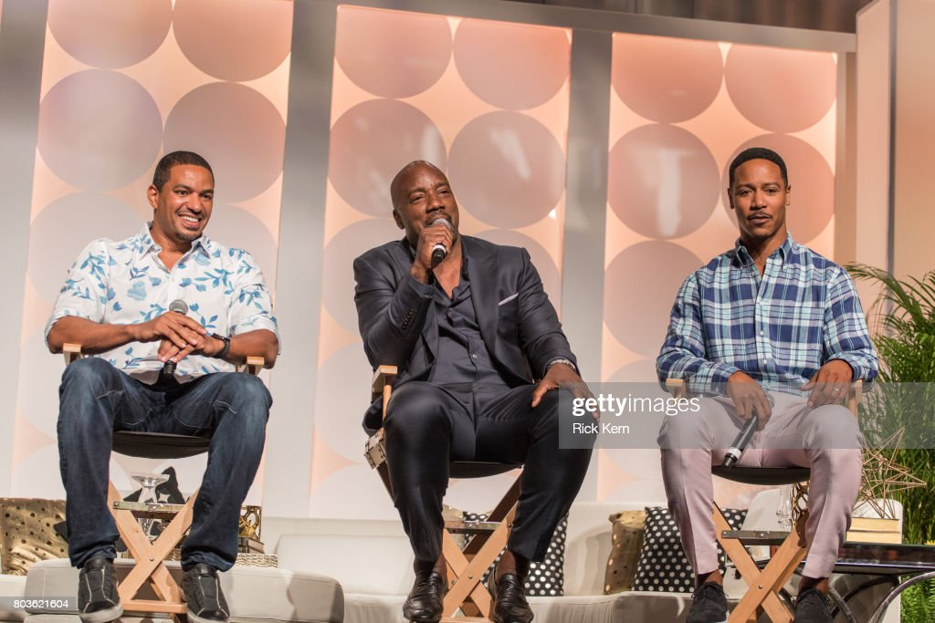 Laz Alonso, Malik Yoba, and Brian White take part in the MegaFest Leading Men In Hollywood Panel at the Omni Hotel on June 29, 2017 in Dallas, Texas.
