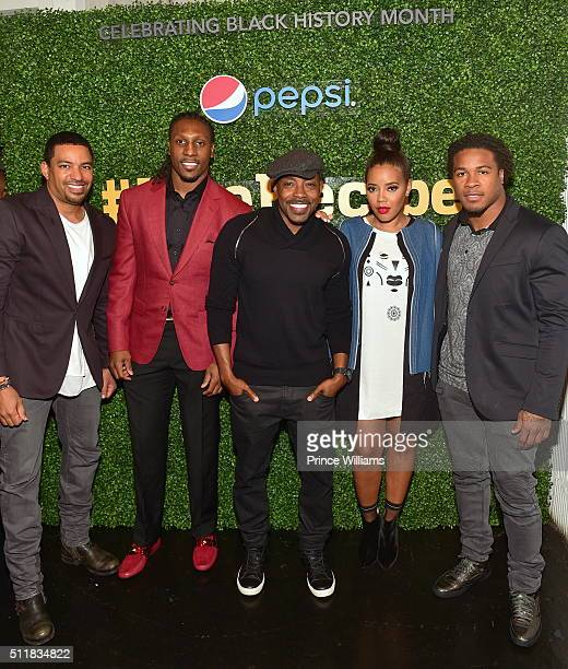Laz Alonso Roddy White Will Packer Angela Simmons and Devonta Freeman attend #TheRecipe at Do At The View on February 22 2016 in Atlanta Georgia