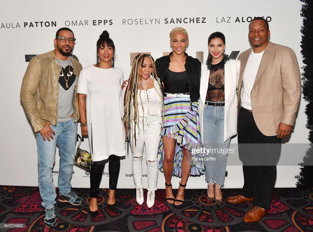 Laz Alonso, Roxanne Avent, Tameka 'Tiny' Harris, Paula Patton, Roselyn Sanchez, and Deon Taylor attend 'Traffik' Atlanta VIP Screening at Regal Atlantic Station on April 16, 2018 in Atlanta, Georgia.