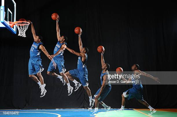 Lazar Hayward of the Minnesota Timberwolves does mock action shots during the 2010 NBA rookie photo shoot on August 17 2010 at the MSG Training...