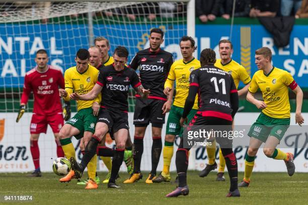 Lazar Kojic of Fortuna Sittard Arne Naudts of Helmond Sport during the Jupiler League match between Fortuna Sittard and Helmond Sport at the Fortuna...