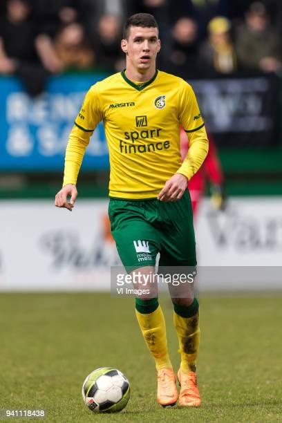 Lazar Kojic of Fortuna Sittard during the Jupiler League match between Fortuna Sittard and Helmond Sport at the Fortuna Sittard Stadium on April 02...
