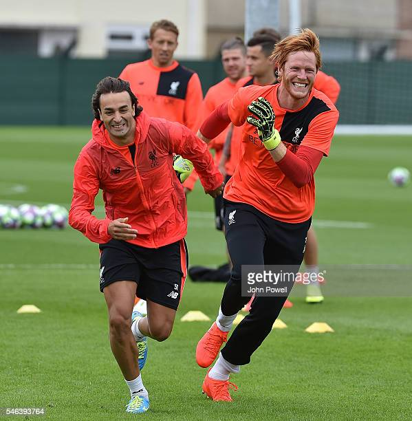 Lazar Markovic and Adam Bogdan of Liverpool during a training session at Melwood Training Ground on July 12 2016 in Liverpool England