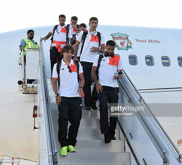 Lazar Markovic Kevin Stewart and Marko Grujic of Liverpool arrives at LAX airport on July 26 2016 in Los Angeles California