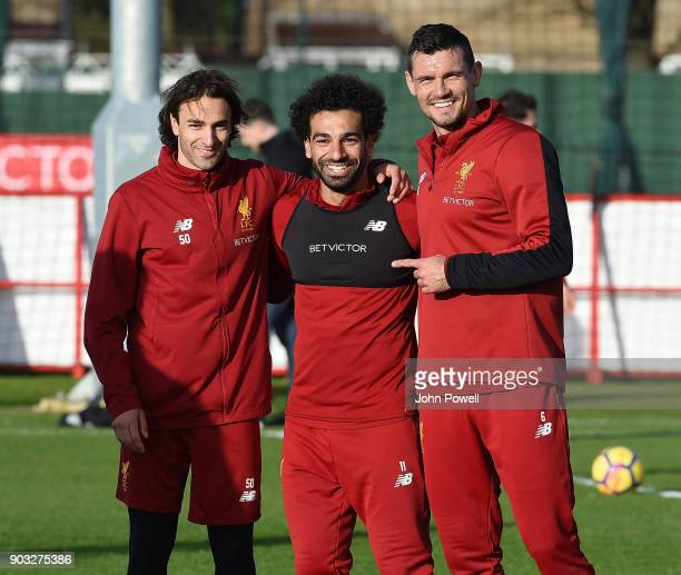 Lazar Markovic Mohamed Salah and Dejan Lovren of Liverpool during a training session at Melwood Training Ground on January 10 2018 in Liverpool...